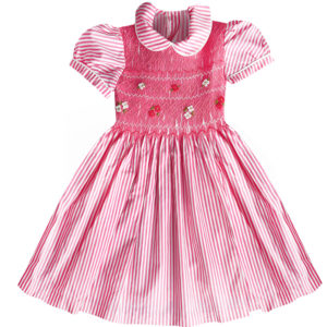 robe été a rayure rose vif a smocks manches ballons et col Claudine