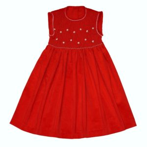 robe-a-smocks-rouge-en-velours-sans-manches
