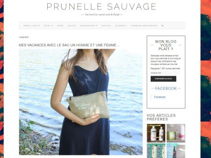 ARTICLE PARU SUR LE BLOG « PRUNELLE SAUVAGE – BLOG BEAUTÉ AU NATUREL, MODE & LIFESTYLE »